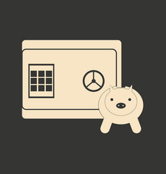 Flat in black and white piggy bank and safe vector