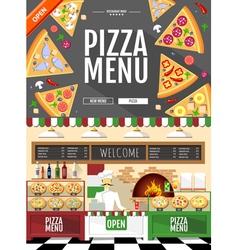 Flat style pizza menu concept Web site design vector