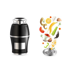 food waste disposer realistic isolated vector image