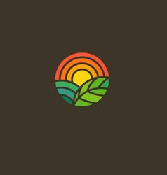 Geometric round logo sun field and leaf gradient vector