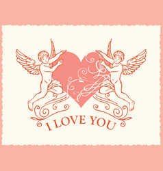 greeting card or banner with inscriptions i love vector image