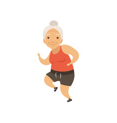Grey senior woman running in sports uniform vector