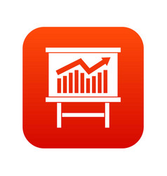 Growing chart presentation icon digital red vector