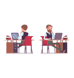 handsome male office employee sitting at desk vector image