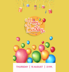 Happy birthday design with balloon and gift box vector