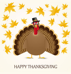 happy thanksgiving celebration design with turkey vector image