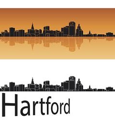 Hartford skyline in orange background vector
