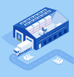 isometric industrial warehouse loading dock truck vector image