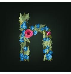 Letter Flower alphabet Colorful font vector