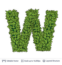 Letter w symbol of green leaves vector