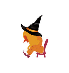 liitle witch sitting on a small chair tyed after vector image