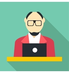 Male consultant icon flat style vector