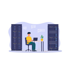 Male system administrator is working on laptop in vector