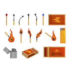 matches light matchbox and lighter to create fire vector image