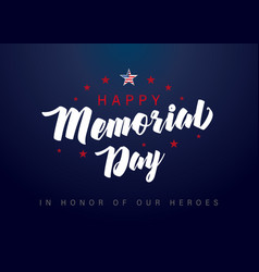memorial day usa lettering star poster vector image