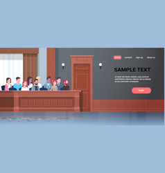 Men women sitting jury box court trial session mix vector