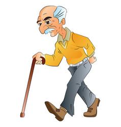 Old man walking illlustration vector