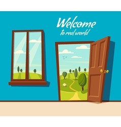 Open door Valley landscape Cartoon vector image