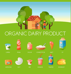 organic dairy products banner vector image