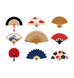 paper fan chinese folding painted hand vector image