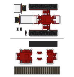 paper model an old red diesel locomotive vector image