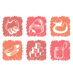 Pink childrens icons vector