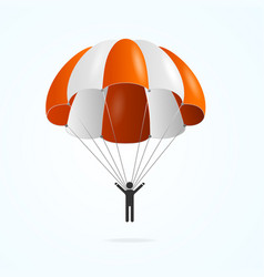 Realistic detailed 3d color parachute and black vector
