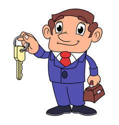 Realtor offering key to the apartment 2 vector