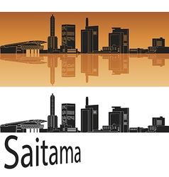 Saitama skyline in orange vector image