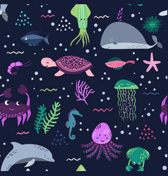 sea life underwater world fish jellyfish sea vector image