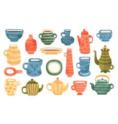 set ceramic kitchenware clay utensils mug vector image