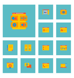 set of wd icons flat style symbols with homepage vector image