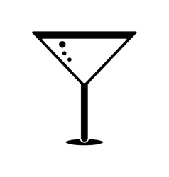 silhouette glass cocktail martini with olive vector image