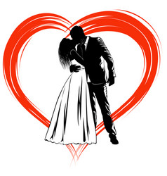 Silhouettes of kissing bride and groom on the vector