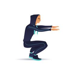 Sketch man sportsman squat doing exercise vector
