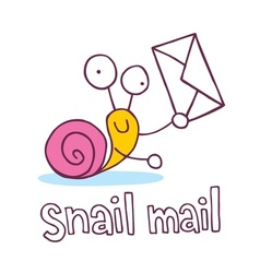 snail mail cartoon character vector image