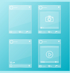 social network post glass frames set vector image