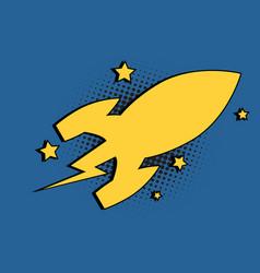 spaceship space rocket cartoon bubble vector image