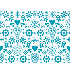 sugar skull seamless pattern - mexican folk vector image