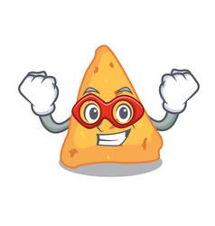 Super hero nachos character cartoon style vector
