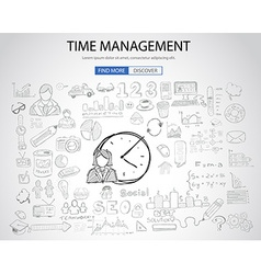 Time Management concept with Doodle design style vector image