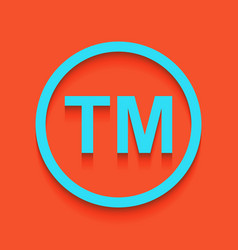 Trade mark sign whitish icon on brick vector