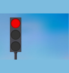 Traffic lights with red light on vector