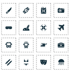 travel icons set with beach with surf helicopter vector image