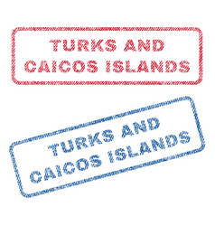 Turks and caicos islands textile stamps vector