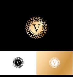 v gold letter monogram gold circle lace ornament vector image