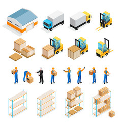 warehouse isometric set vector image