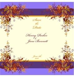 Wedding frame autumn wild grape background vector