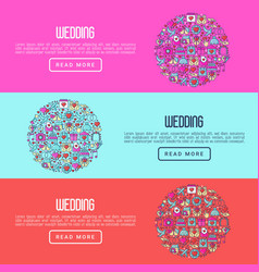 Wedding invitation concept with thin line icons vector