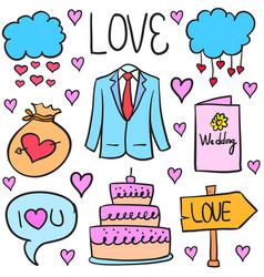 Wedding object doodles vector